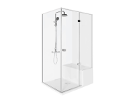 56600114000 - Roomy Compact Shower Unit 120x90 cm Left, with Legs And Panels, U Wall, Drawer, Shower Column