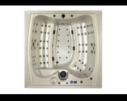 56700003381 - Well-Joy Spa - 220x220 cm 6  Seat, Teak Panel, Blue