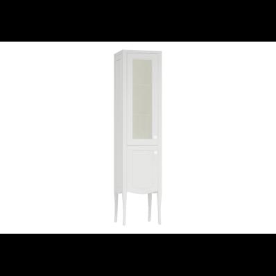 Elegance Cam kapaklı boy dolabı, 40 cm, Mat Beyaz, beyaz seramik kulplu, sol