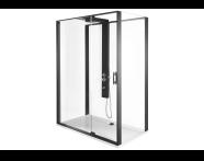 56910013000 - Zest Compact Shower Unit 160x90 cm with Door, Flat Wall, Matte Grey