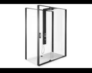 56910021000 - Zest Compact Shower Unit 160x90 cm Left, with Door,  L Wall, Matte Black