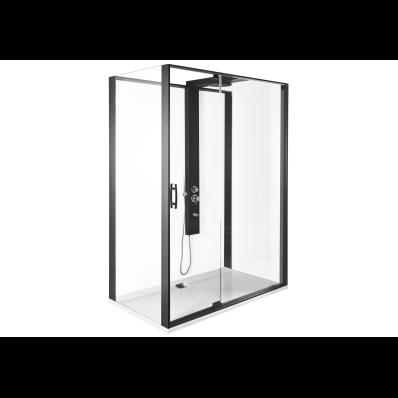 Zest Kompakt Duş Ünitesi 160x90 cm Sol, Kapılı, L Duvar, Mat Siyah