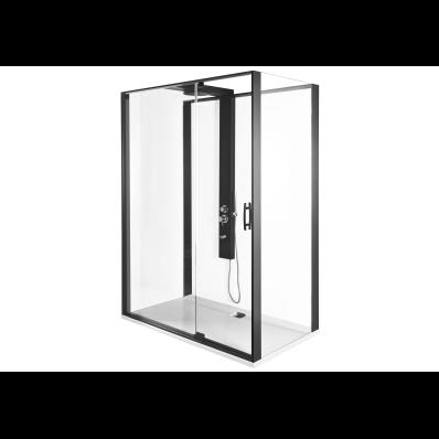 Zest Kompakt Duş Ünitesi 160x90 cm Kapılı, Düz Duvar, Mat Siyah