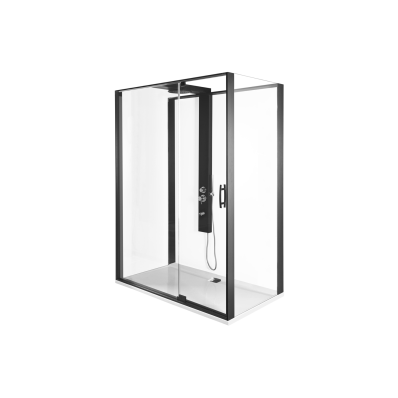 Zest Kompakt Duş Ünitesi 160x90 cm Sağ, Kapılı, U Duvar, Mat Siyah