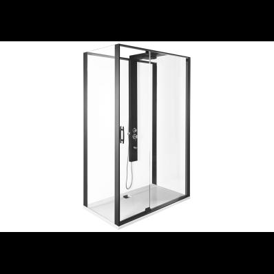 Zest Kompakt Duş Ünitesi 120x90 cm Sol, Kapılı, L Duvar, Mat Siyah