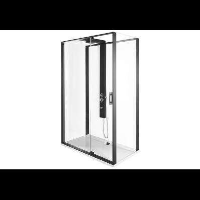 Zest Kompakt Duş Ünitesi 120x90 cm Sağ, Kapılı, L Duvar, Mat Siyah