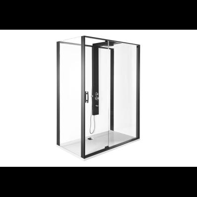 Zest Kompakt Duş Ünitesi 120x90 cm Sol, Kapılı, U Duvar, Mat Siyah