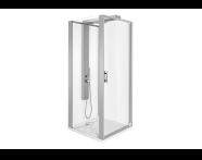 56930012000 - Zest Compact Shower Unit 90x90 cm Left, with Door, Flat Wall, Matte Grey