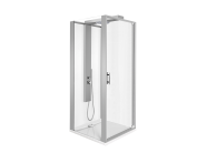 56930014000 - Zest Compact Shower Unit 90x90 cm Left, with Door,  L Wall, Matte Grey