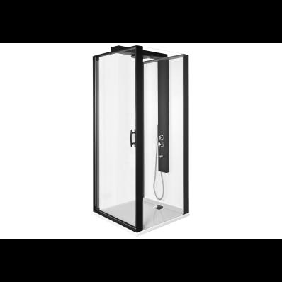 Zest Kompakt Duş Ünitesi 90x90 cm Sağ, Kapılı, Düz Duvar, Mat Siyah