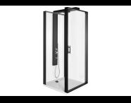 56930022000 - Zest Compact Shower Unit 90x90 cm Left, with Door, Flat Wall, Matte Black