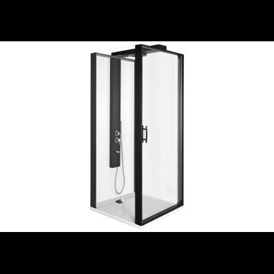 Zest Kompakt Duş Ünitesi 90x90 cm Sol, Kapılı, Düz Duvar, Mat Siyah