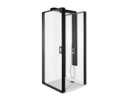56930023000 - Zest Compact Shower Unit 90x90 cm Right, with Door,  L Wall, Matte Black