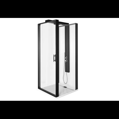 Zest Kompakt Duş Ünitesi 90x90 cm Sağ, Kapılı, L Duvar, Mat Siyah
