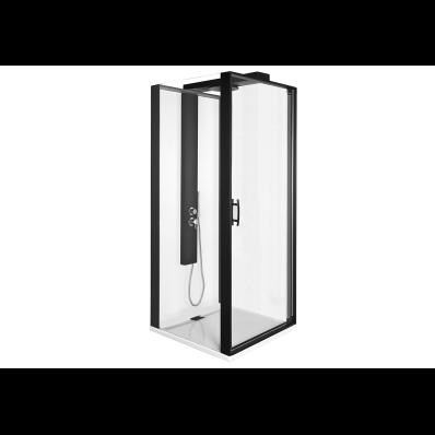 Zest Kompakt Duş Ünitesi 90x90 cm Sol, Kapılı, L Duvar, Mat Siyah
