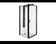 56930026000 - Zest Kompakt Duş Ünitesi 90x90 cm Sol, Kapılı, U Duvar, Mat Siyah