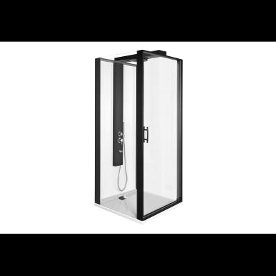 Zest Kompakt Duş Ünitesi 90x90 cm Sol, Kapılı, U Duvar, Mat Siyah