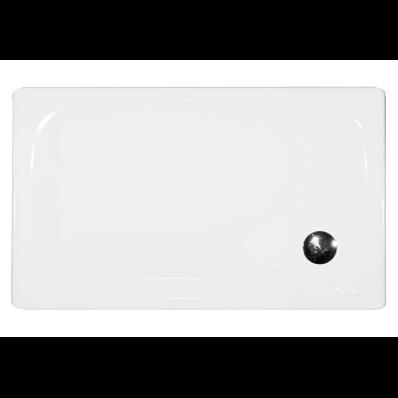 Generic Dikdörtgen 120x80 cm Çelik Duş Teknesi, 3.5 mm, H:2.5 cm, 90 mm Sifon, Ses Yalıtım Pedi