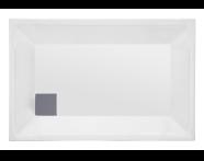 57050005000 - T75 90x75 cm Dikdörtgen Flat(Ayaklı ve Panelli) , Ayak, Sifon