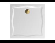 57270005000 - Elegance 90x90 cm Kare Flat(Ayaklı ve Panelli), Ayak, Krom Gider Kapağı+Sifon