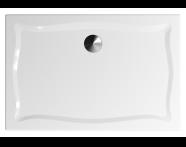 57290003000 - Elegance 120x80 cm Dikdörtgen Flat(Gömme), Krom Gider Kapağı+Sifon