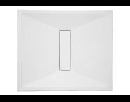 57750011000 - Slim 90x80 cm Dikdörtgen Sıfır Zemin, Krom Gider Kapağı, Sifon