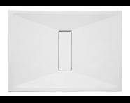 57780011000 - Slim 110x80 cm Dikdörtgen Sıfır Zemin, Krom Gider Kapağı, Sifon