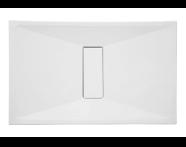 57810011000 - Slim 130x80 cm Dikdörtgen Sıfır Zemin, Krom Gider Kapağı, Sifon