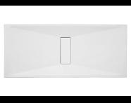 57840011000 - Slim 180x80 cm Dikdörtgen Sıfır Zemin, Krom Gider Kapağı, Sifon