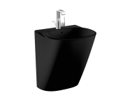 5798B470-0001 - Frame Half monoblock basin, 50 cm, with one tap hole, with overflow hole, black, 424216 waste set and trap is included