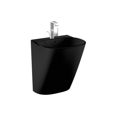 Frame Half monoblock basin, 50 cm, with one tap hole, with overflow hole, black, 424216 waste set and trap is included