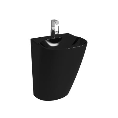Frame Yarı Monoblok Lavabo, Orta Armatür Delikli, Siyah (424216 Kodlu Süzgeç + Sifon Ürüne Dahildir)