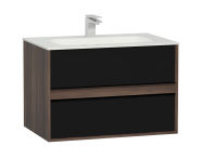 58181 - M-Line Infinit Washbasin Unit, 2 Drawers, Including Infinit Washbasin, 80 cm, Plum Tree