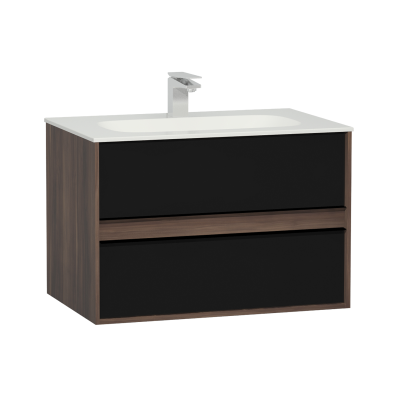 M-Line Infinit Washbasin Unit, 2 Drawers, Including Infinit Washbasin, 80 cm, Plum Tree