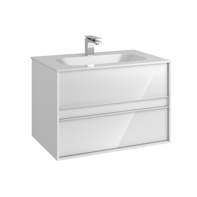 M-Line Infinit Washbasin Unit, 2 Drawers, Including Infinit Washbasin, 80 cm, High Gloss White