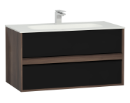 58183 - M-Line Infinit Washbasin Unit, 2 Drawers, Including Infinit Washbasin, 100 cm, Plum Tree