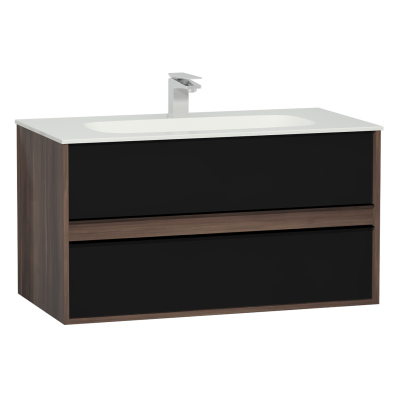 M-Line Infinit Washbasin Unit, 2 Drawers, Including Infinit Washbasin, 100 cm, Plum Tree