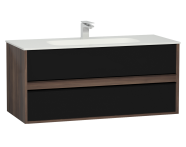 58185 - M-Line Infinit Washbasin Unit, 2 Drawers, Including Infinit Washbasin, 120 cm, Plum Tree