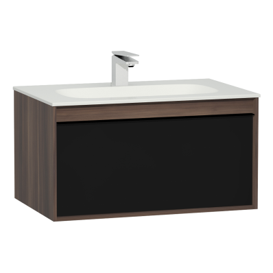 M-Line Infinit Washbasin Unit, 1 Drawer, Including Infinit Washbasin, 80 cm, Plum Tree