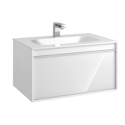 M-Line Infinit Washbasin Unit, 1 Drawer, Including Infinit Washbasin, 80 cm, High Gloss White