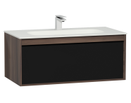 58195 - M-Line Infinit Washbasin Unit, 1 Drawer, Including Infinit Washbasin, 100 cm, Plum Tree