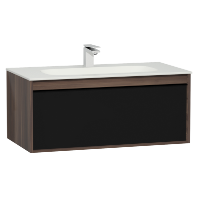 M-Line Infinit Washbasin Unit, 1 Drawer, Including Infinit Washbasin, 100 cm, Plum Tree