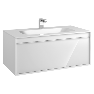 M-Line Infinit Washbasin Unit, 1 Drawer, Including Infinit Washbasin, 100 cm, High Gloss White