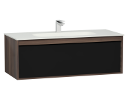 58197 - M-Line Infinit Washbasin Unit, 1 Drawer, Including Infinit Washbasin, 120 cm, Plum Tree