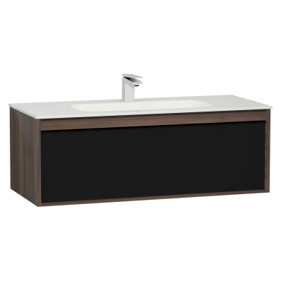 M-Line Infinit Washbasin Unit, 1 Drawer, Including Infinit Washbasin, 120 cm, Plum Tree