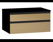 58275 - Memoria Black&White Alt modül, 80 cm, Hareli Meşe & Mat Siyah