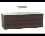 58356 - Memoria Lavabo dolabı, seramik lavabolu, armatür deliksiz, 120 cm, Mat Amerikan Ceviz