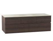 58357 - Memoria Lavabo dolabı, seramik lavabolu, sağdan armatür delikli, 120 cm, Mat Amerikan Ceviz
