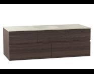 58358 - Memoria Lavabo dolabı, seramik lavabolu, soldan armatür delikli, 120 cm, Mat Amerikan Ceviz