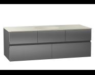 58360 - Memoria Lavabo dolabı, seramik lavabolu, sağdan armatür delikli, 120 cm, Metalik Gri